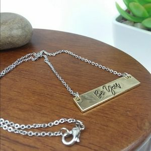 """Be You""  Bar Charm Silver Tone Necklace"